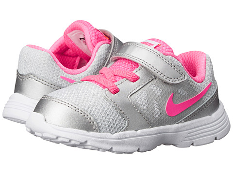 Nike Kids - Downshifter 6 (Infant/Toddler) (Pure Platinum/Bright Citrus/Metallic Silver/Pink Pow) Girls Shoes