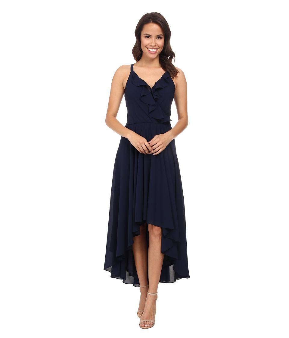 KUT from the Kloth - Solid Chiffon Dress (Navy) Women's Dress