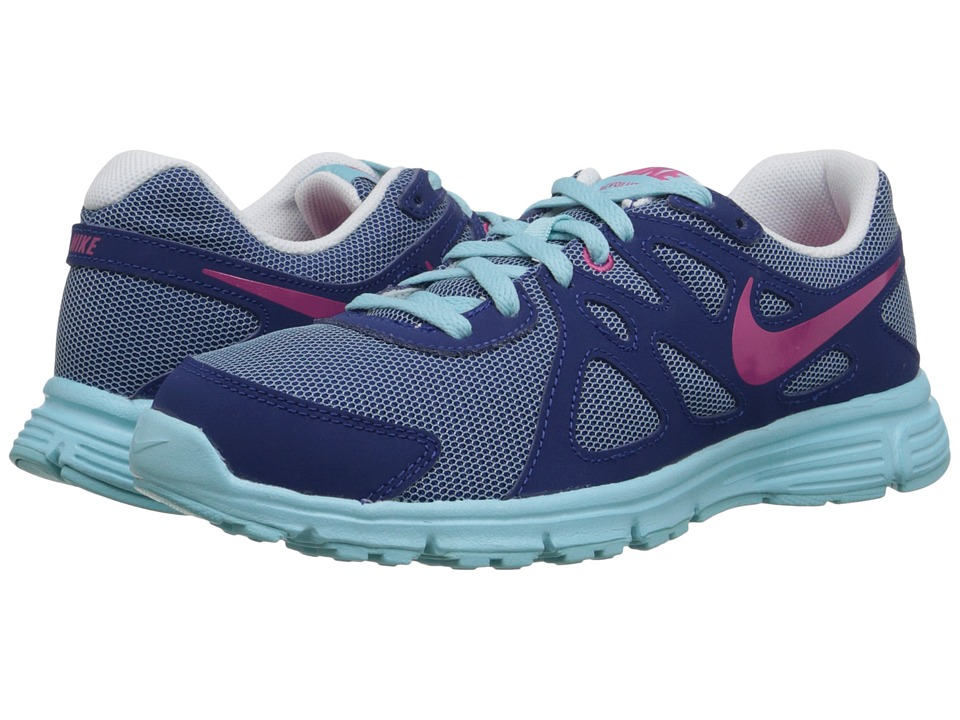 Nike Kids - Revolution 2 (Big Kid) (Copa/Insignia Blue/White/Vivid Pink) Girls Shoes