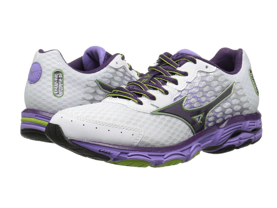 Mizuno - Wave Inspire 11 (White/Shadow Purple/Greenery) Women's Shoes