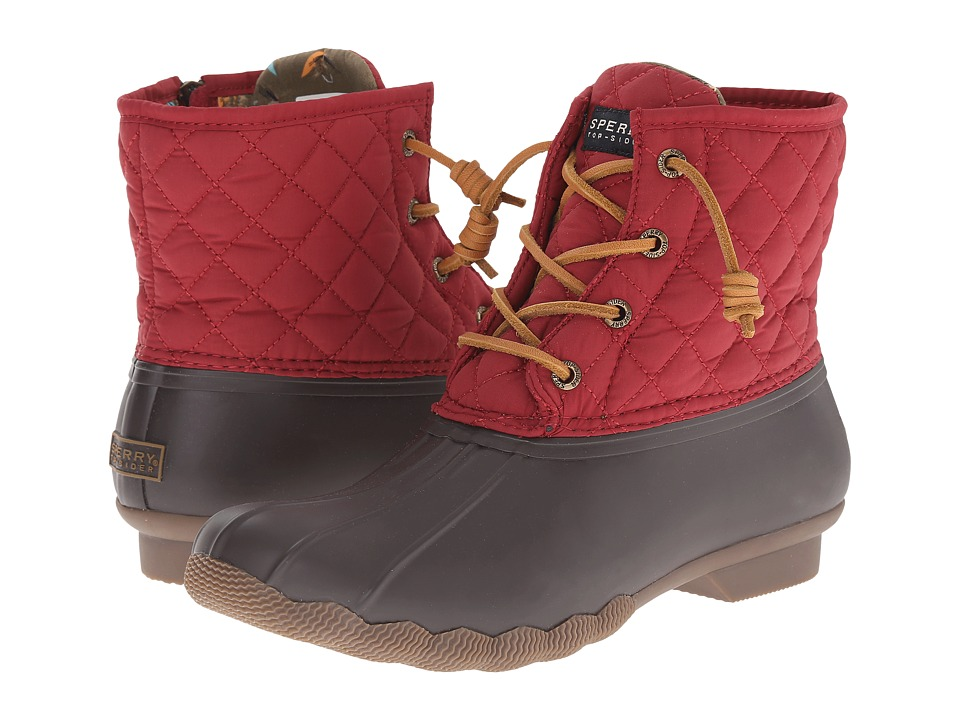 Sperry Top-Sider - Saltwater Quilted Nylon (Brown/Red) Women's Lace-up Boots