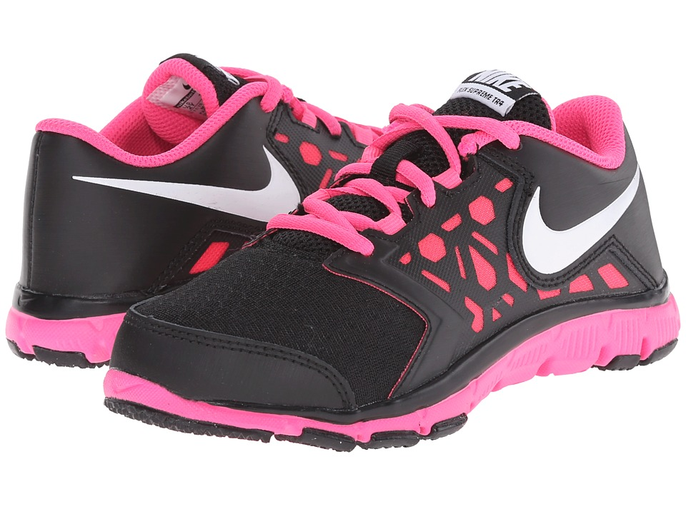 Nike Kids - Flex Supreme 4 (Little Kid/Big Kid) (Black/Pink Pow/White) Girls Shoes