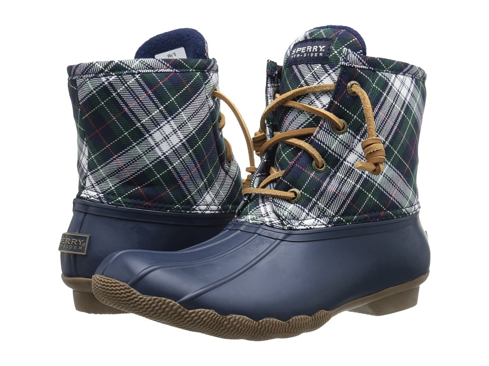Sperry Top-Sider - Saltwater Novelty (Navy/Green Plaid) Women's Rain Boots