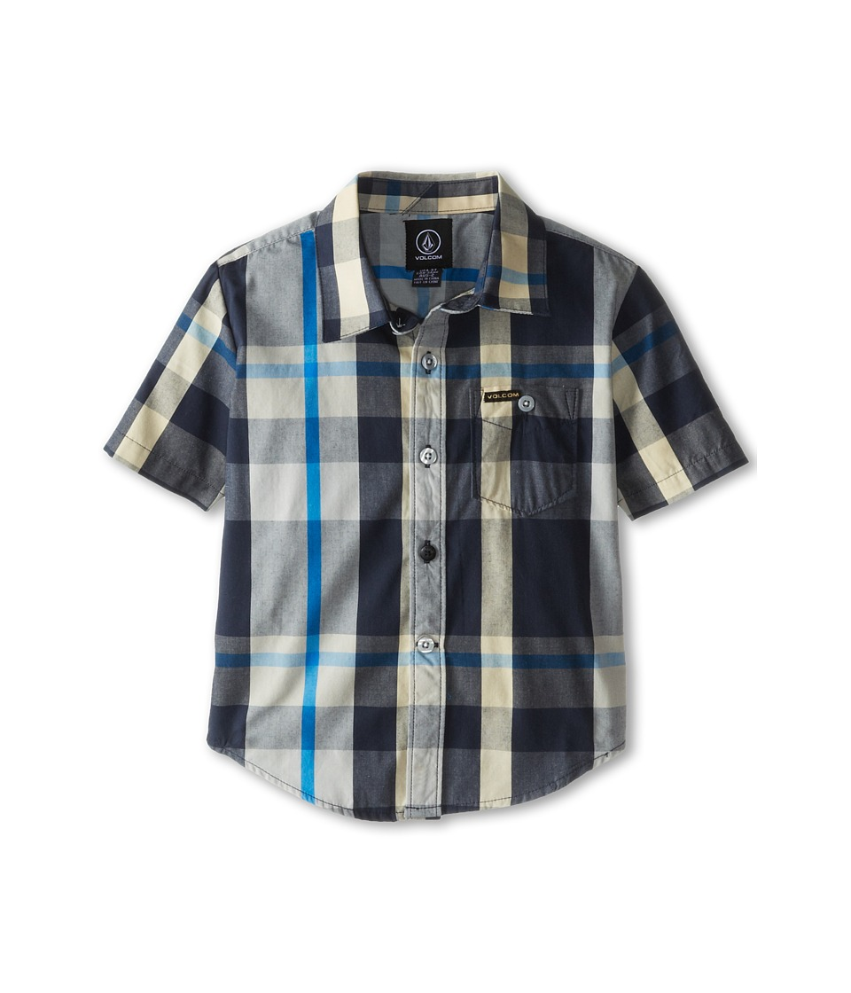 Volcom Kids - Campton Short Sleeve Shirt (Toddler/Little Kids) (Navy) Boy's Short Sleeve Button Up