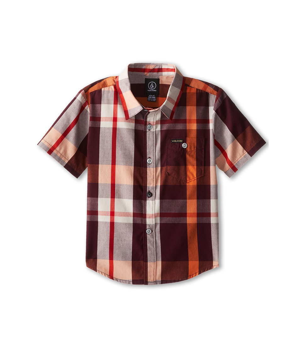 Volcom Kids - Campton Short Sleeve Shirt (Toddler/Little Kids) (Merlot) Boy's Short Sleeve Button Up