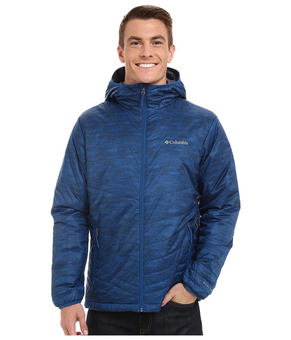 Columbia - Mighty Light Hooded Jacket (Marine Blue/Wavy Print) Men