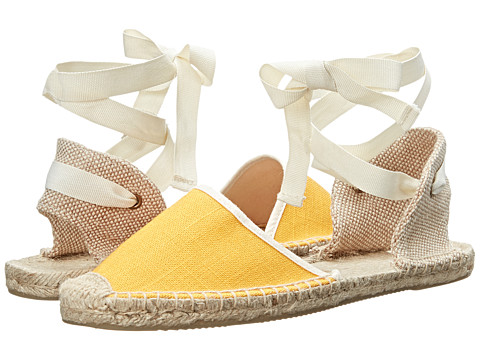 Soludos - Knobby Linen Sandal (Saffron Yellow) Women's Flat Shoes