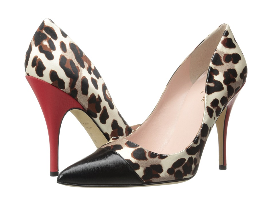 Kate Spade New York Lacy (White/Black Leopard Print Satin) High Heels