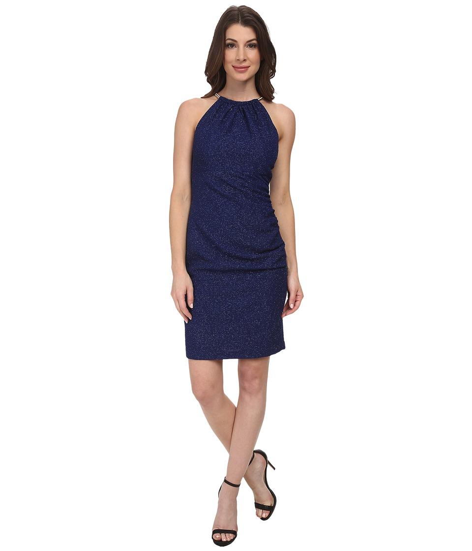 Eliza J - Shirred Neckline Halter Necklace Dress (Royal) Women's Dress