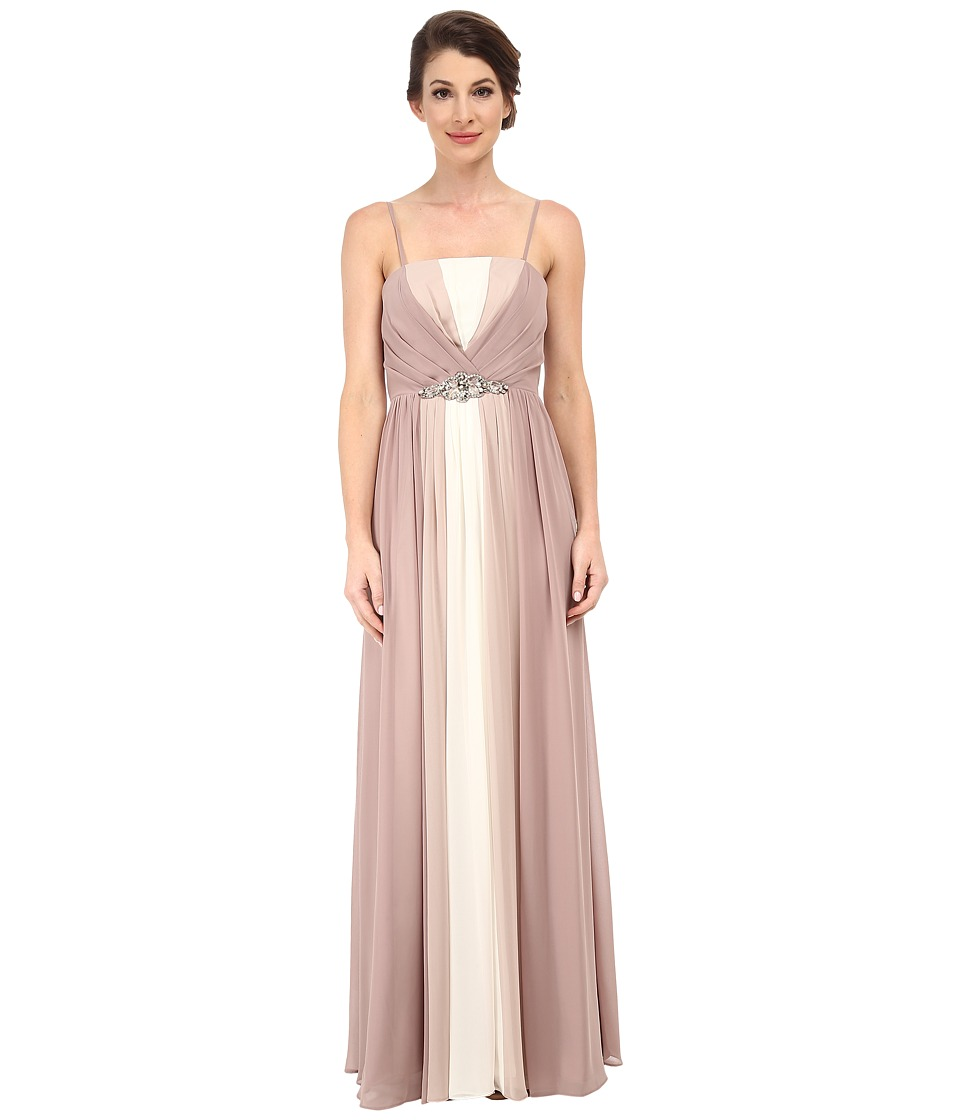 Eliza J - Tri-Tone Strapless Bustier Bodice Dress with Long Skirt (Champagne) Women's Dress plus size,  plus size fashion plus size appare