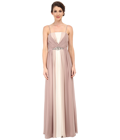 Eliza J - Tri-Tone Strapless Bustier Bodice Dress with Long Skirt (Champagne) Women