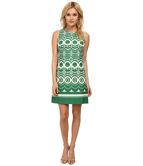 Eliza J - Sleeveless Shift In Border Circle Print (Green) Women's Dress