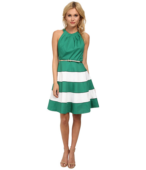 Eliza J - Halter with Circle Skirt Faggotting Detail (Green) Women's Dress