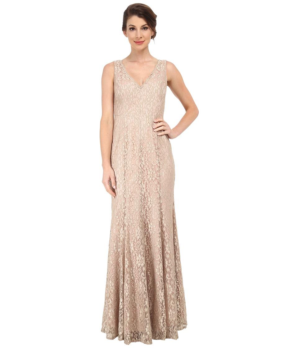 Eliza J Sleeveless V-Neck Mermaid Gown Champagne Dress