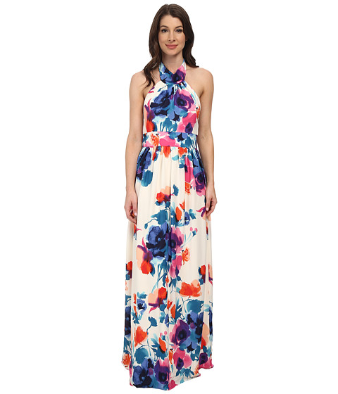 Eliza J - Sleeveless High Halter Neck Maxi with Banded Inset Waist (Print) Women