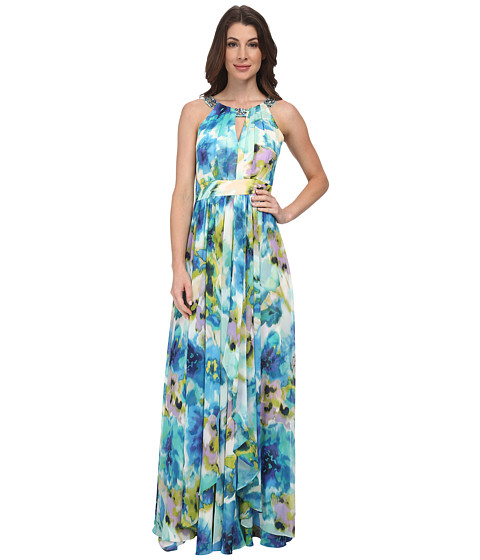 Eliza J - Halter Maxi with Keyhole and Waterfall Skirt (Print) Women's Dress