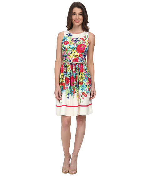 Eliza J - Sleeveless Fit and Flare with Keyhole Back Closer (Print) Women