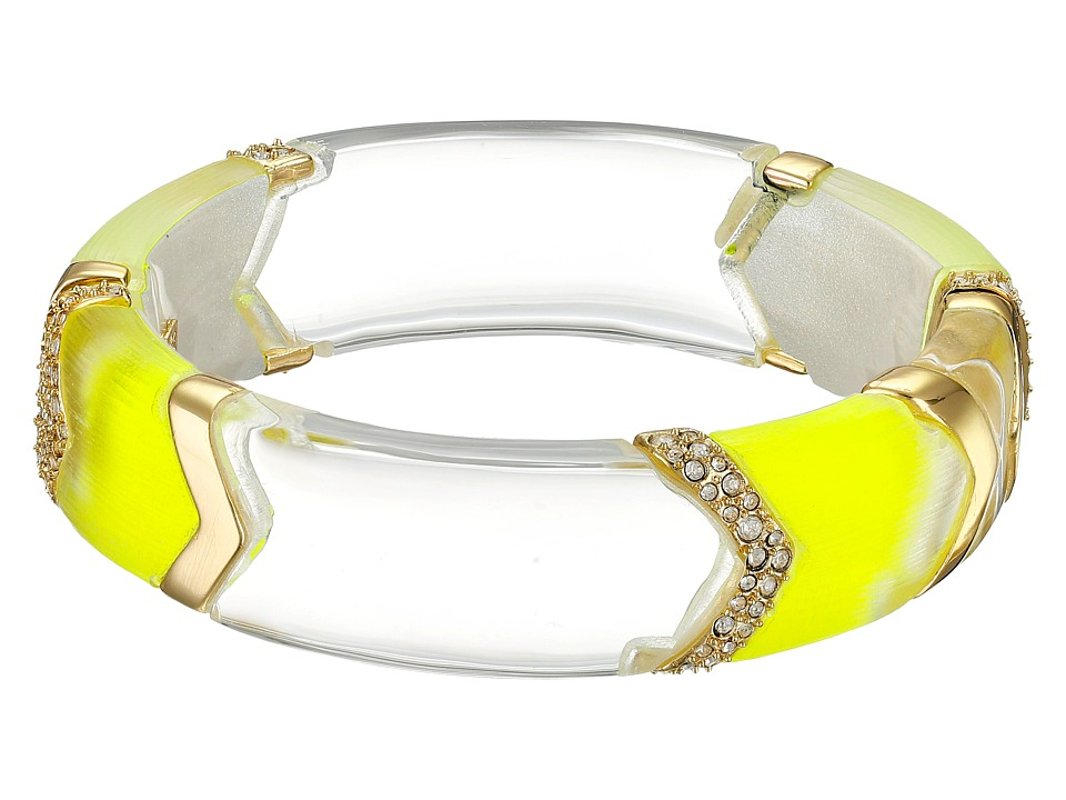 Alexis Bittar - Clear Colored Encrusted Chevron Sectioned Hinge Bracelet (Neon Yellow) Bracelet