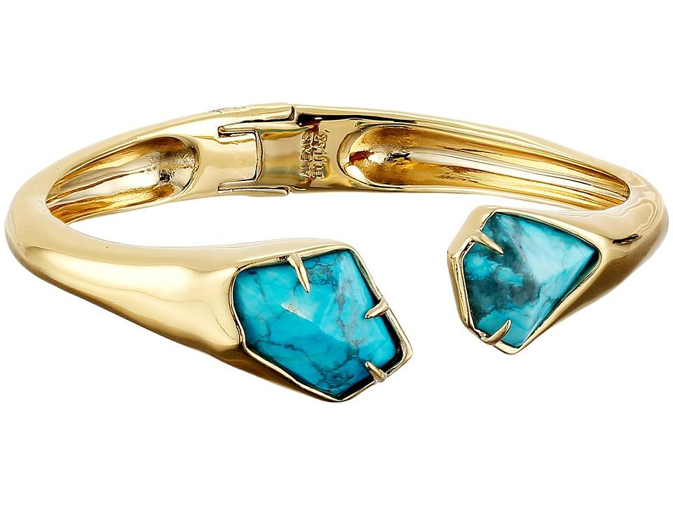 Alexis Bittar - Asymmetrical Break Hinge w/ Fancy Cut Howlite Turquoise Bracelet (10K Gold) Bracelet