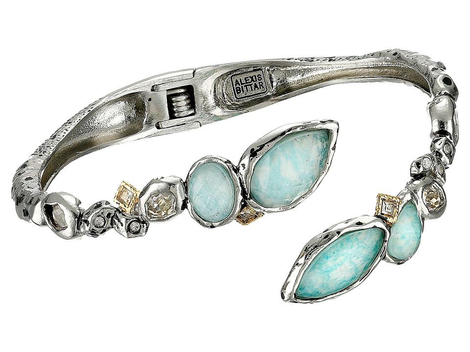 Alexis Bittar - Rocky Bypass Hinge w/ Custom Cut Amazonite Doublets Bracelet (Antique Rhodium/18K Gold) Bracelet