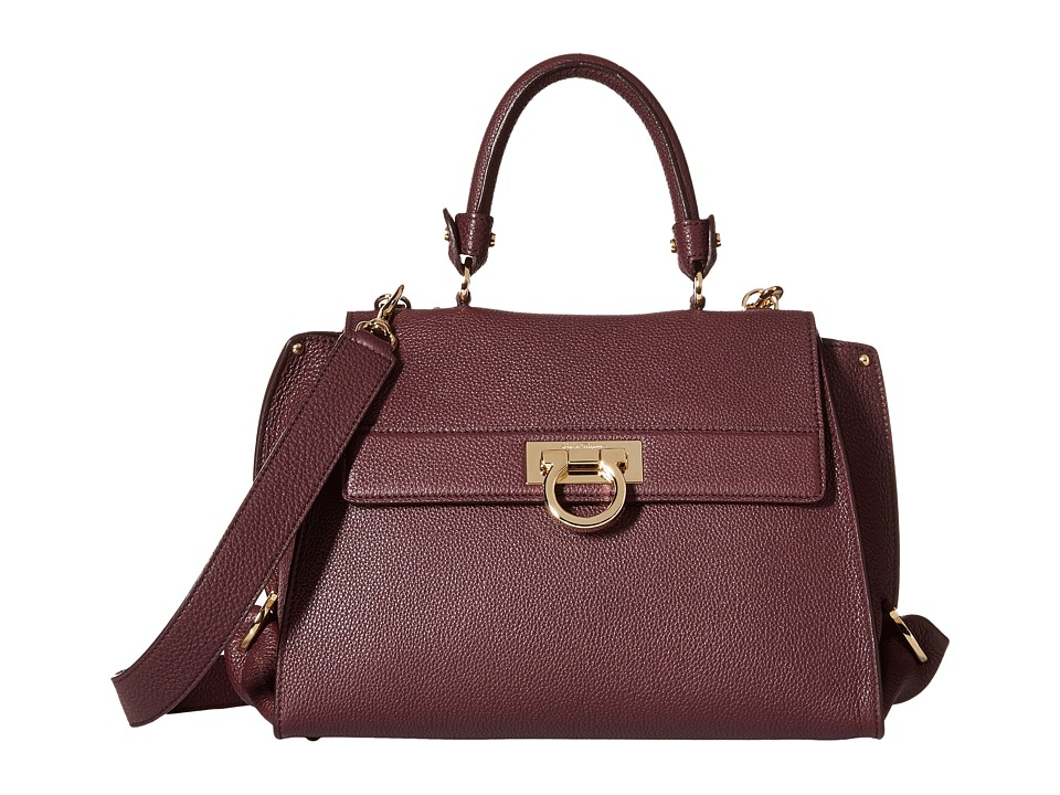 Salvatore Ferragamo - 21E530 Sofia (Rouge Noir) Satchel Handbags