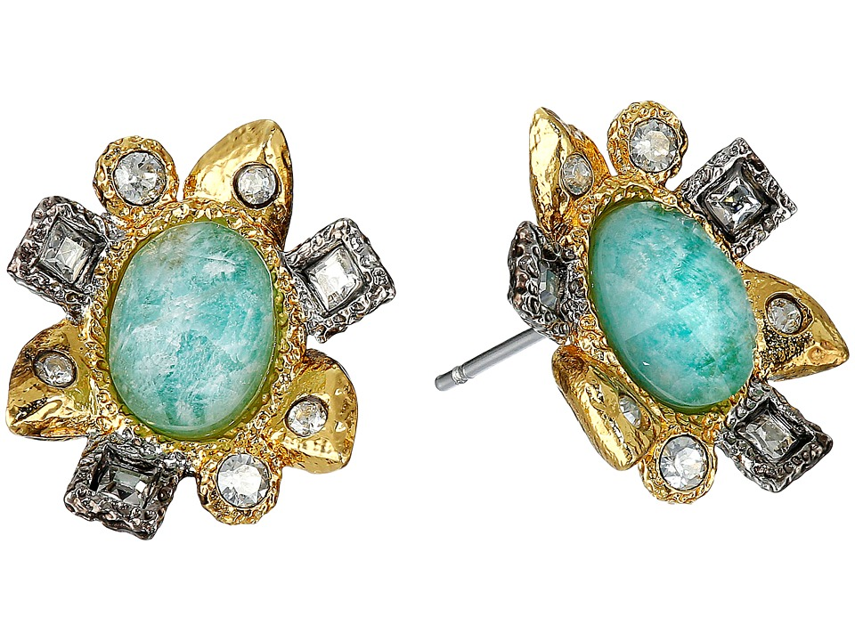 Alexis Bittar - Mosaic Post w/ Rose Cut Amazonite Doublet Earrings (18K Gold/Antique Rhodium) Earring