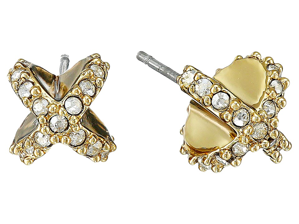 Alexis Bittar - Encrusted Criss Cross Stud Post Earrings (10K Gold) Earring
