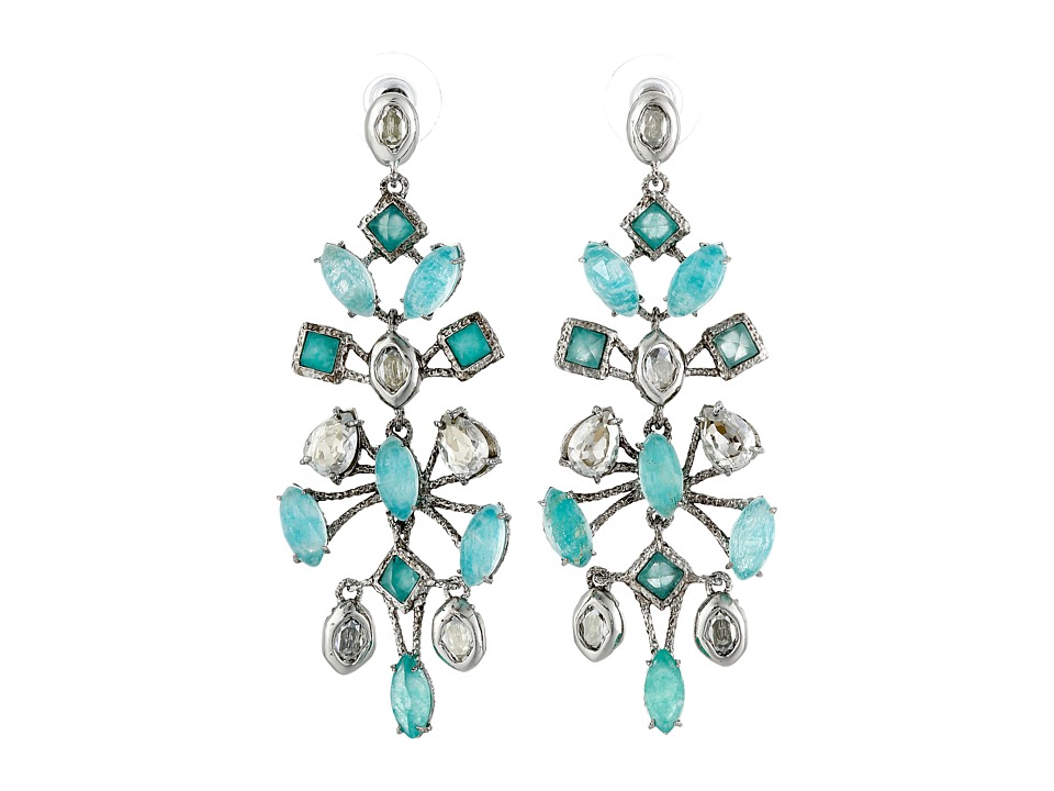 Alexis Bittar - Fancy Mobile Post w/ Rose Cut Amazonite Doublets, Chrysoprase Color Chalcedony Antique Set Crystal Earrings (Antique Rhodium) Earring