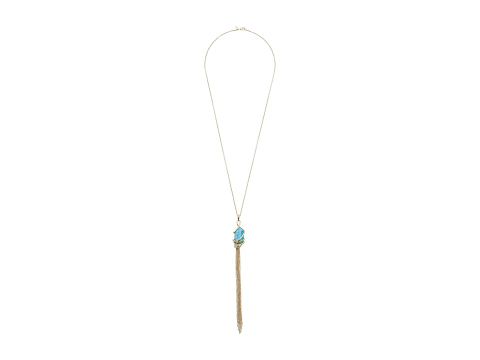 Alexis Bittar - Orbiting Tassel Pendant w/ Fancy Cut Howlite Turquoise Necklace (10K Gold) Necklace