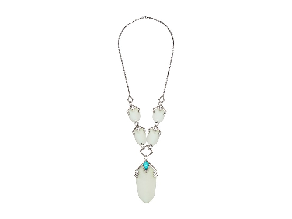 Alexis Bittar - Brilliant Cut Baguette Stepped Long Bib Necklace (Moonstone) Necklace