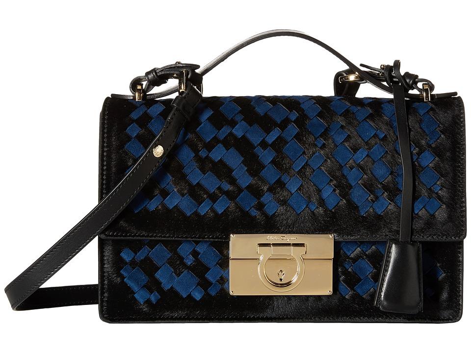 Salvatore Ferragamo - 21E099 Aileen (Pony Nero/Camoscio Saphir) Cross Body Handbags