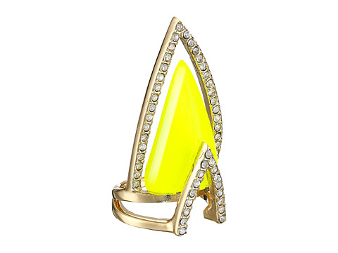 Alexis Bittar - Crystal Encrusted Chevron Cocktail Ring (Neon Yellow) Ring