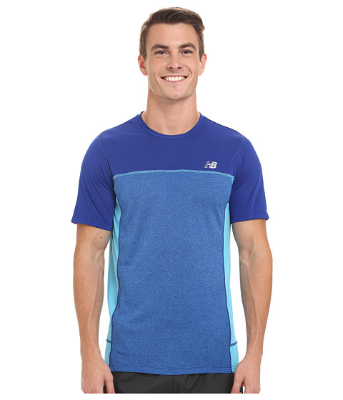 New Balance - Tech Run Short Sleeve Top (Ocean Blue/Multi) Men's Clothing