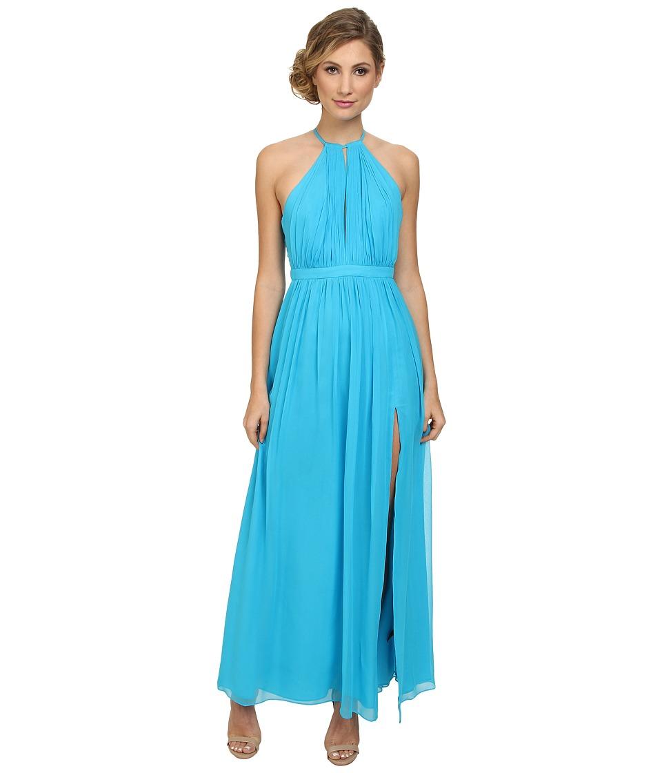 JILL JILL STUART - Keyhole Halter Chiffon Gown (Turquoise) Women's Dress