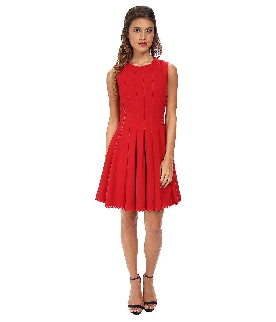 JILL JILL STUART - Ric Rac Elastane Fit Flare (Scarlet) Women's Dress