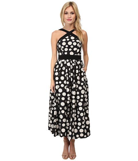 JILL JILL STUART - Midi Length Dotted Linen Dress (Black/Ivory) Women's Dress