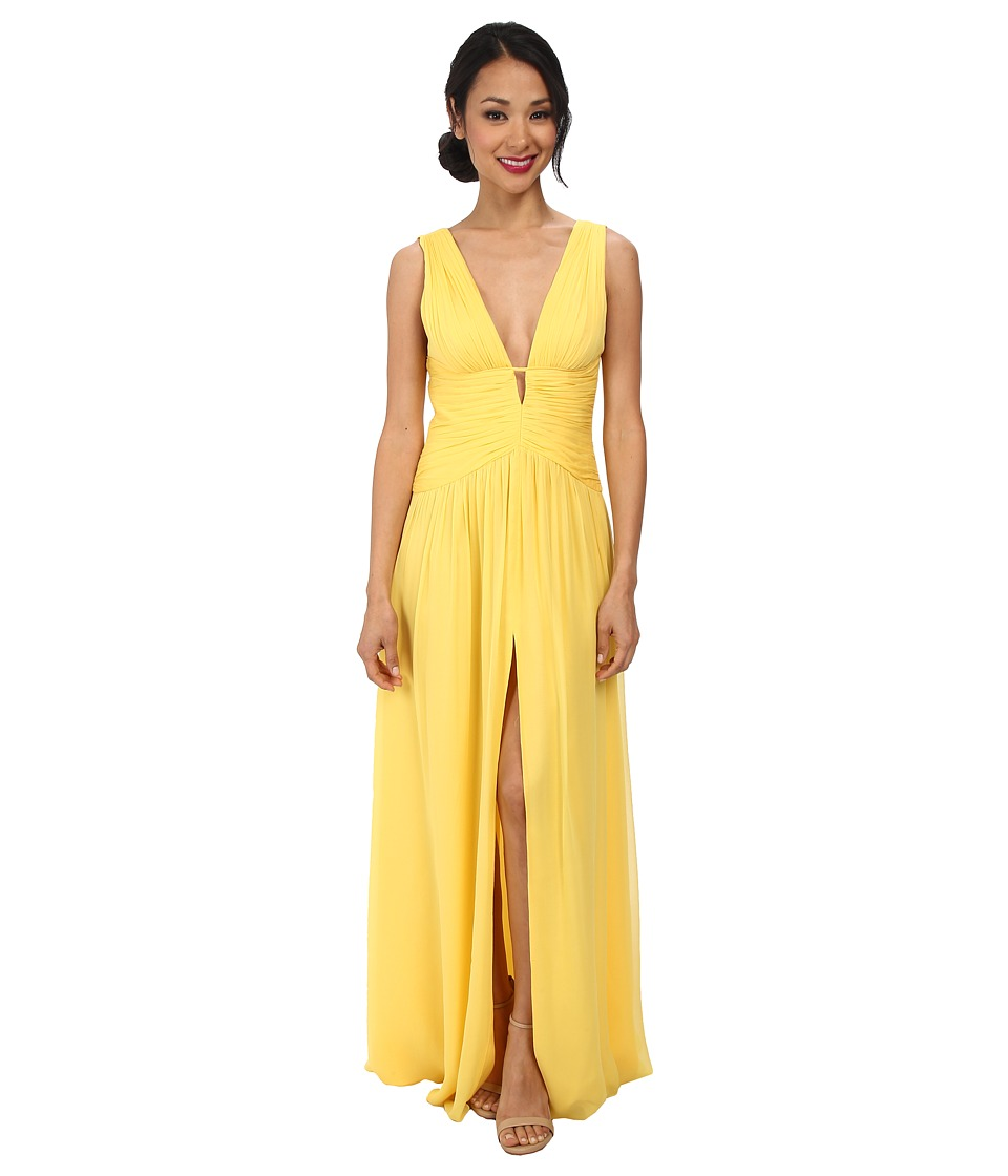 JILL JILL STUART - Deep V-Neck Ruched Chiffon Gown (Yellow) Women's Dress
