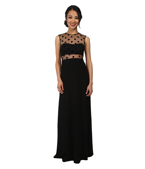 JILL JILL STUART - Illusion Velvet Dots Gown (Black) Women's Dress