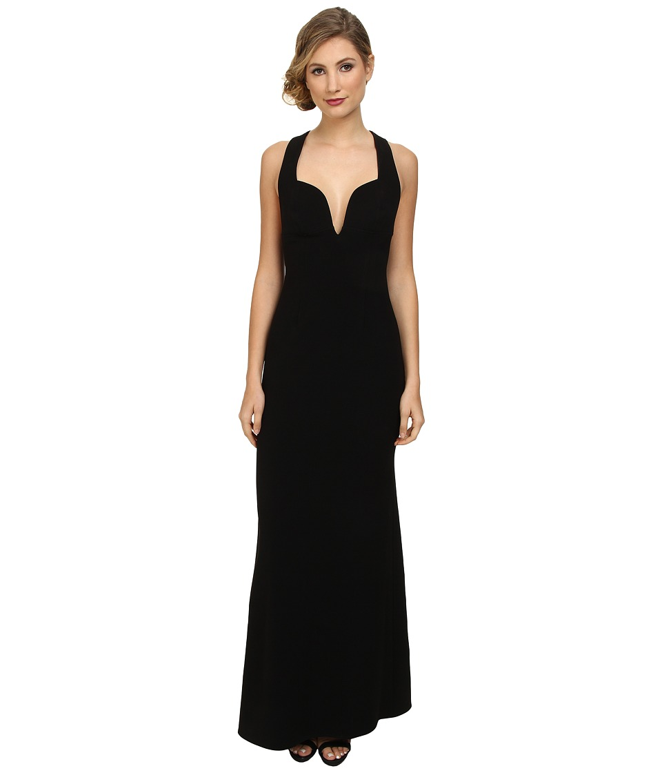 JILL JILL STUART - Deep V-Neck Fitted Elastane Gown (Black) Women's Dress