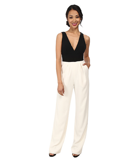 JILL JILL STUART - Two-Tone Deep V-Neck Jumpsuit (Off-White/Black) Women's Jumpsuit & Rompers One Piece