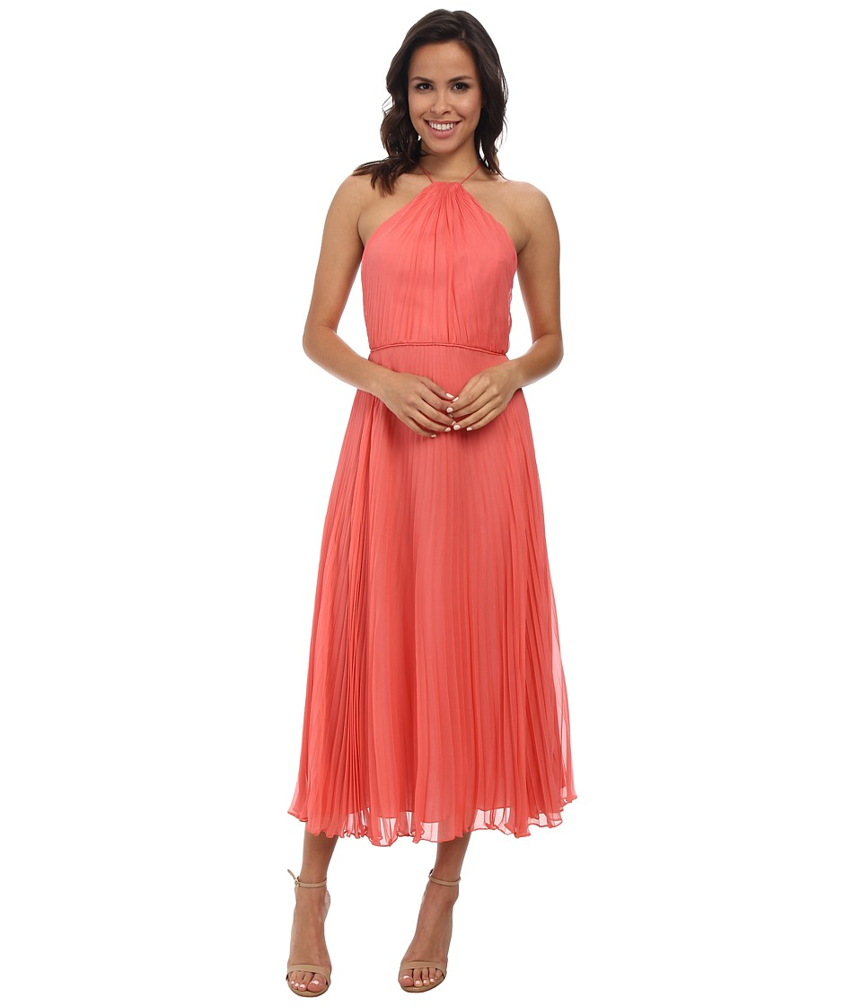 JILL JILL STUART - Midi Pleated Halter Chiffon Dress (Tea Rose) Women's Dress