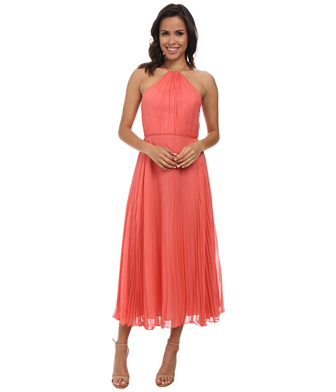 JILL JILL STUART - Midi Pleated Halter Chiffon Dress (Tea Rose) Women