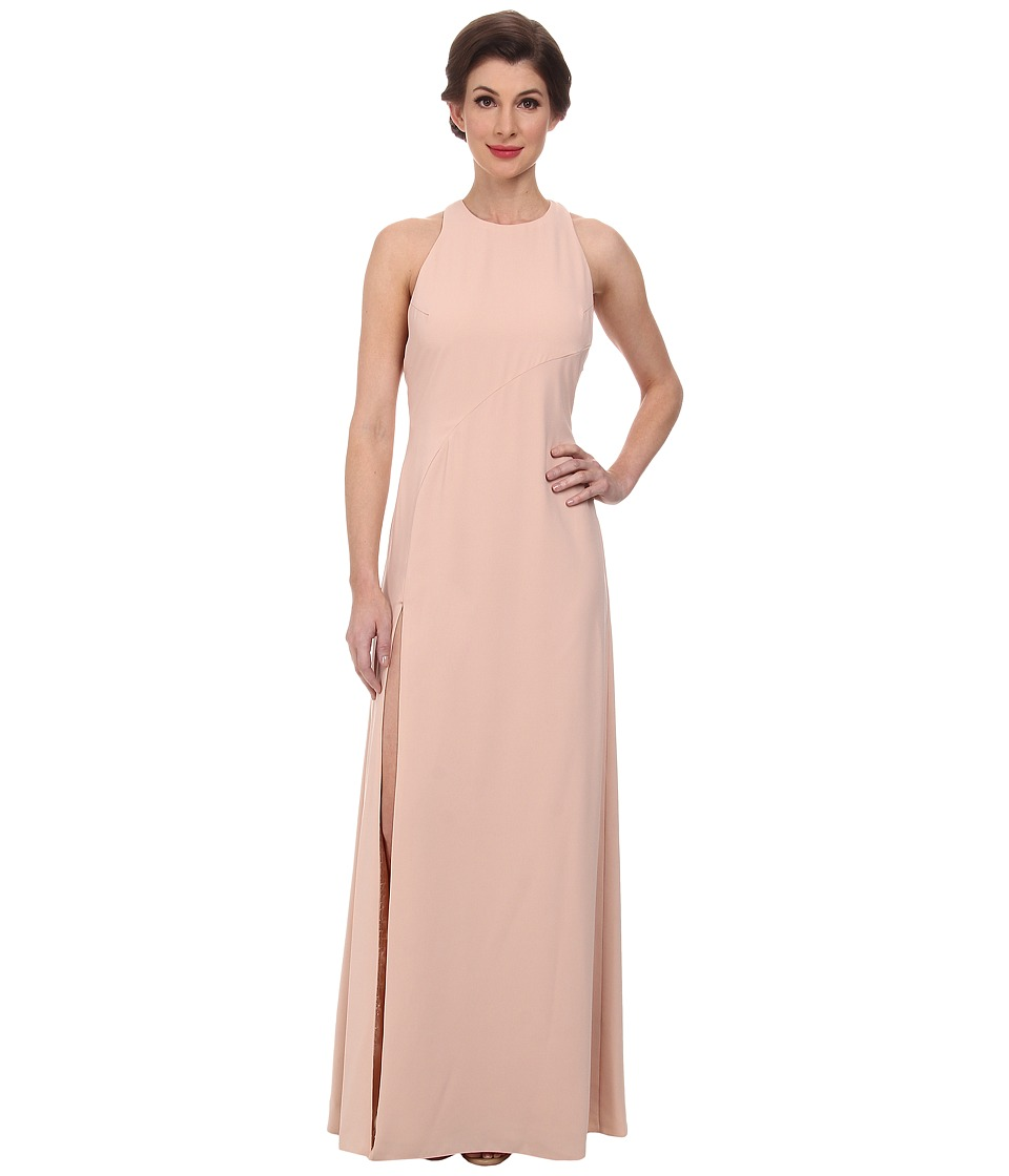 JILL JILL STUART - High Neck 2-Ply Crepe Gown w/ Back Chiffon Drape (Rosy Nude) Women's Dress