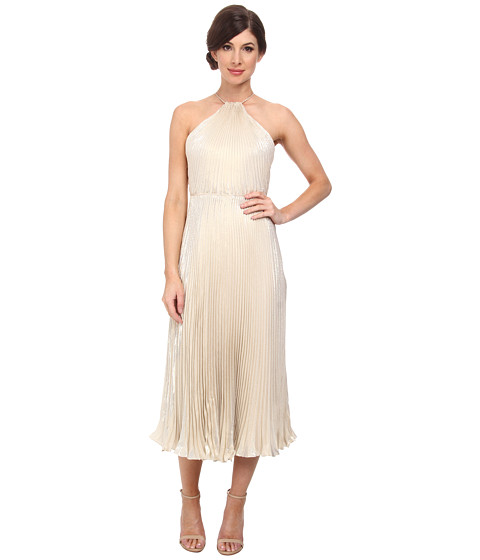 JILL JILL STUART - Midi Pleated Halter Lame Dress (Gold) Women's Dress