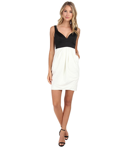 JILL JILL STUART - Two-Tone Sweetheart Neck Duchess Satin Dress (Off-White/Black) Women