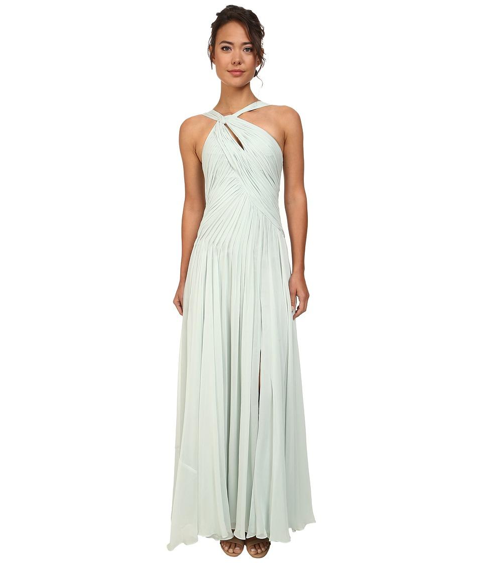 JILL JILL STUART Halter Ruched Silk Chiffon Gown (Celadon) Women