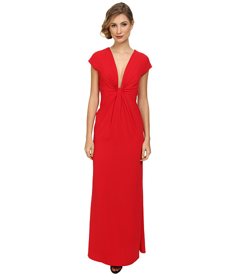 JILL JILL STUART - Deep V 2-Ply Crepe Gown w/ Cap Sleeveless (Flamingo) Women