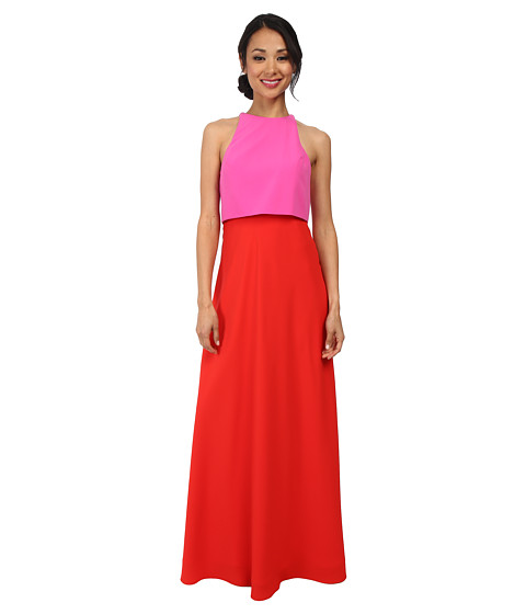 JILL JILL STUART - Two-Tone Pop Over 2-Ply Crepe Gown (Pink/Bright-Red) Women's Dress