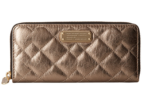 Marc by Marc Jacobs - New Q Quilted Metallic Exclusives Slim Zip Around (Gold) Handbags