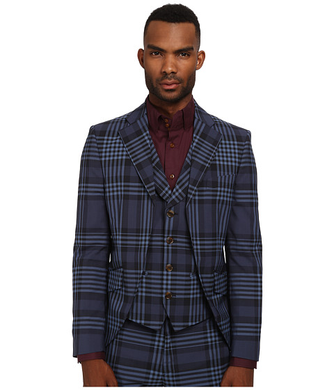 Vivienne Westwood MAN - Democrat Waistcoat Jacket (Navy Tartan) Men's Jacket